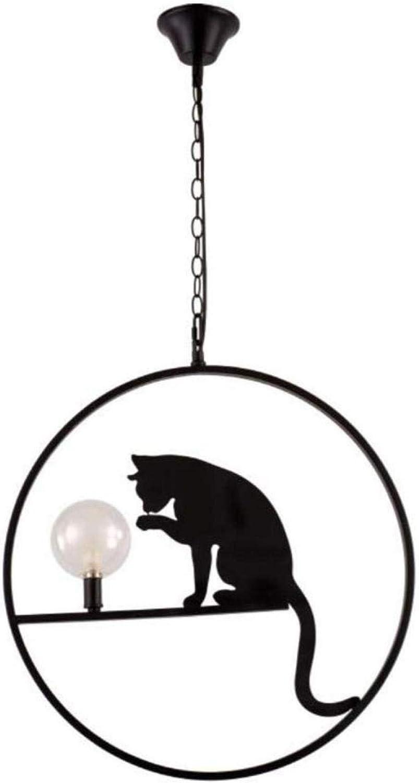 Lámpara colgante de gato negro de hierro y vidrio pantalla moderna lámpara LED moderna lámpara creativa dormitorio isla lámpara cocina bar arte
