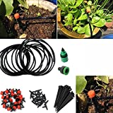 Katoot@ 1 Set 5M DIY Micro Drip Irrigation System Plant Automatic Self Watering Garden Hose Kits with Connector+10x Adjustable Dripper