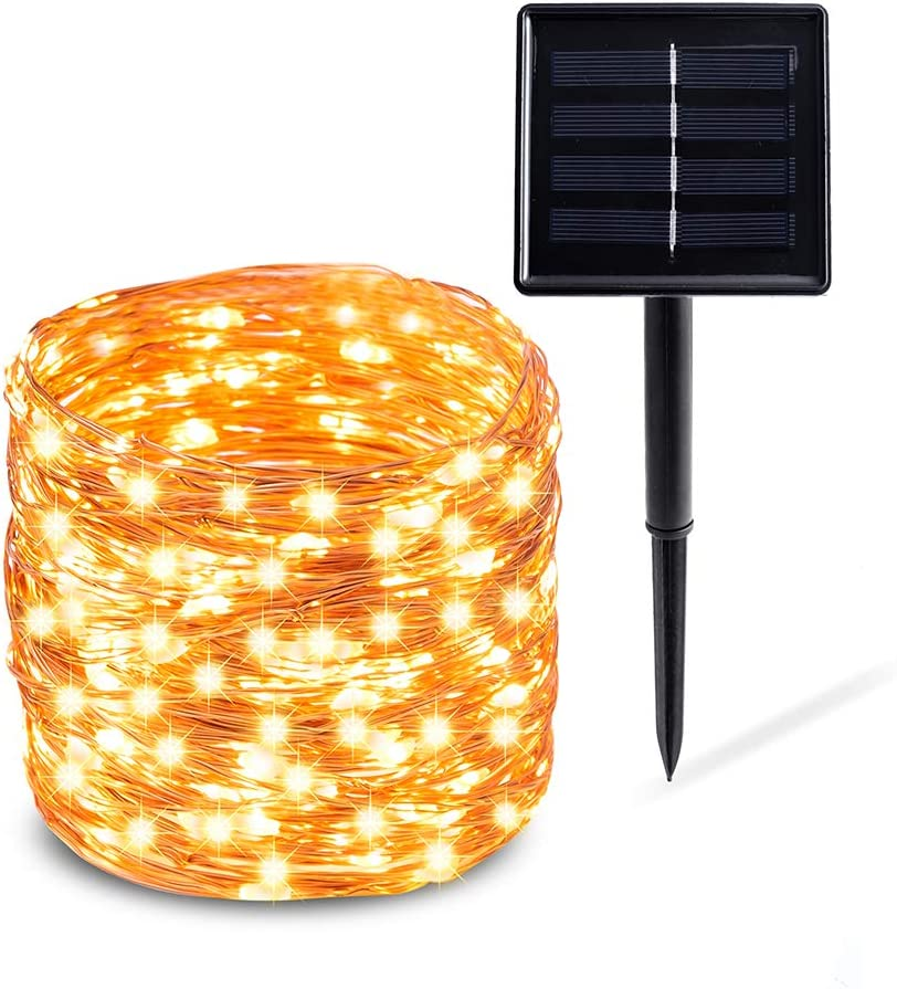 【2020 New Upgraded】Solar String Lights Outdoor, Solar Fairy Lights, 200 LED 8 Modes Waterproof Copper Wire Solar Decorative Lights for Garden, Wedding, Patio, Bedroom, Party, Bushes and Christmas