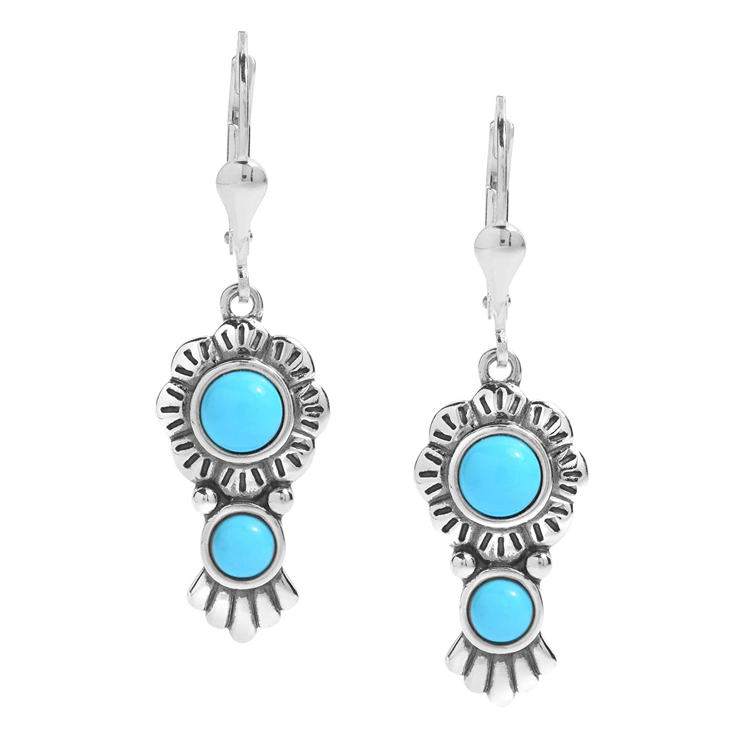 American West Sterling Silver Sleeping Beauty Turquoise Gemstone Concho Dangle Earring