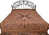 Black Reversible Jamawar Bedspread with Woven Paisleys - Pure Wool