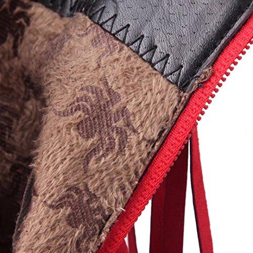AIYOUMEI Damen Spitz Stiletto High Heels Stiefeletten mit Quaste Reißverschluss Fransenstiefel Rot
