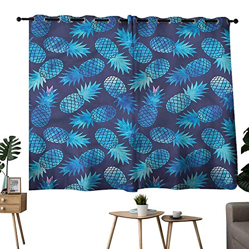Alexandear Blackout/Room Darkening Curtains Grommets Curtain Kids Modern,Exotic Pineapple Figures Room/Bedroom, W72 x L45