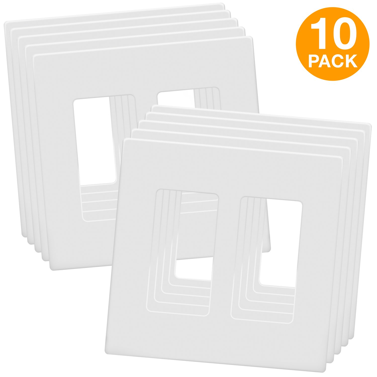 ENERLITES SI8832-W SI8832-WTP Screwless Decorator Wall Plates Child Safe Outlet Covers, Size 2-Gang 4.68'' H x 4.73'' L, Unbreakable Polycarbonate Thermoplastic, SI8832-W-10PCS, White (10 Pack), 1 by ENERLITES