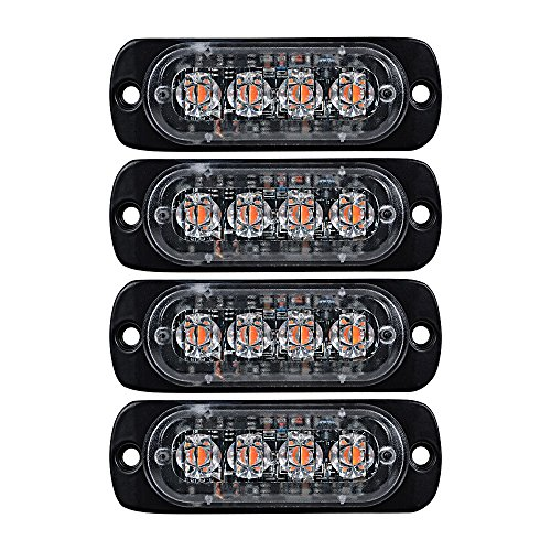 4X AMBER Ultra Thin 4-LED Warning Emergency Flashing Strobe Light Bars Surface Mount For Car Van Truck Jeep 4x4 SUV ATV UTV ()