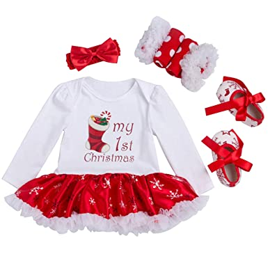f73d95699 Looching Newborn Baby Girls My First Christmas Romper Tutu Dress Outfit  with Headband Shoes, Christmas