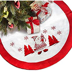 "LimBridge 48"" Thick Fleece Christmas Tree Skirt with Embroidered Snowflake Knitted Santa Claus, Rustic Xmas Holiday Decoration, White"