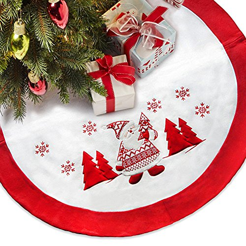 """LimBridge 48"""" Thick Fleece Christmas Tree Skirt with Embroidered Snowflake Knitted Santa Claus, Rustic Xmas Holiday Decoration, White"""