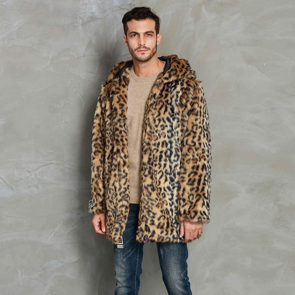 BiuBuy Mens Long Sleeve Fluffy Faux Fur Coat,Winter Warm Faux Fur Overcoat,Long Thicken Soft Jacket Outerwear