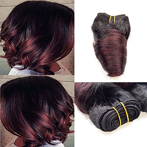 - Barroko Hair Sale 7a Grade Ombre Brazilian Virgin Hair Loose Wave 4 Bundles t1b/Burgundy Black To Red Two Tone Short Bob Human Hair Weaves Extensions Loose Deep Wave Hair Wefts