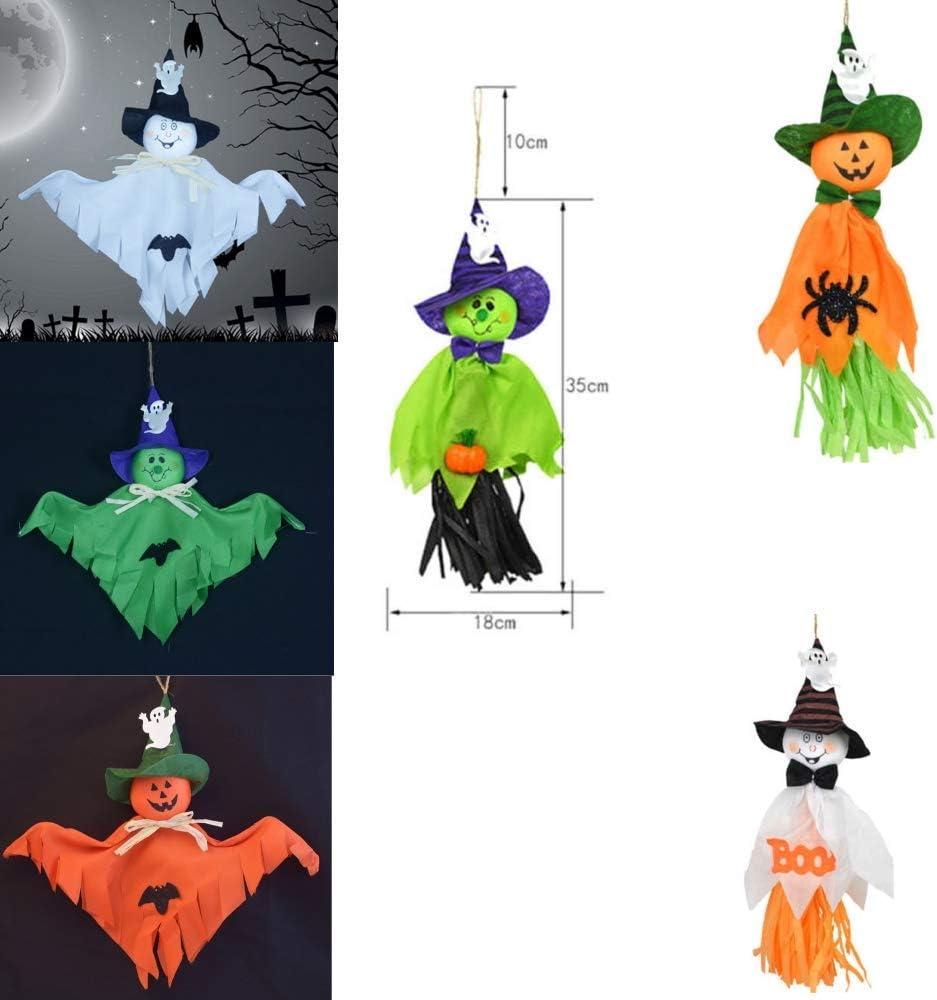 Pendente a Forma di Paglia con Fantasma di Zucca per Decorazioni per Feste in Giardino sul Prato di Halloween AOFOX Fantasma Appeso di Halloween da 6 Pezzi