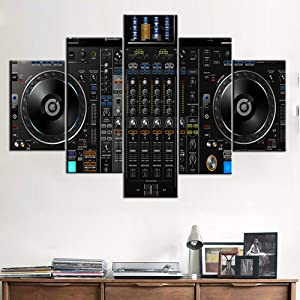 Music Decorations for Home DJ Pictures for Wall DJ Spinning Paintings for Living Room 5 Pcs/Multi Panel Canvas Art,Modern Artwork Frame Gallery-wrapped Ready to Hang Posters and Prints(60''Wx40''H)