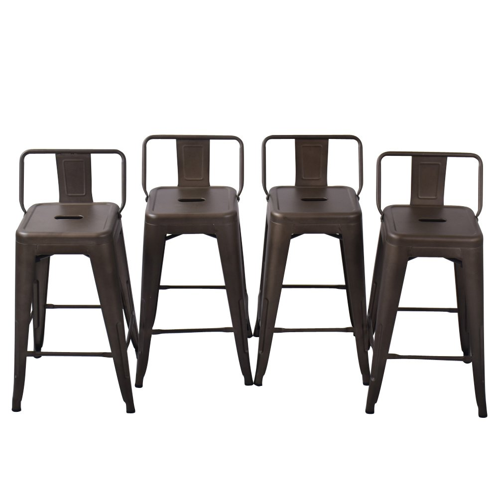 Metal Barstools Counter Height Stools Pack Of 4 Patio