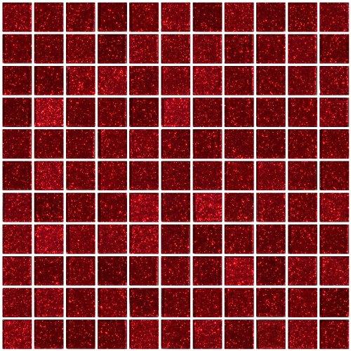 Susan Jablon Mosaics - 1 Inch Red Glitter Glass Tile
