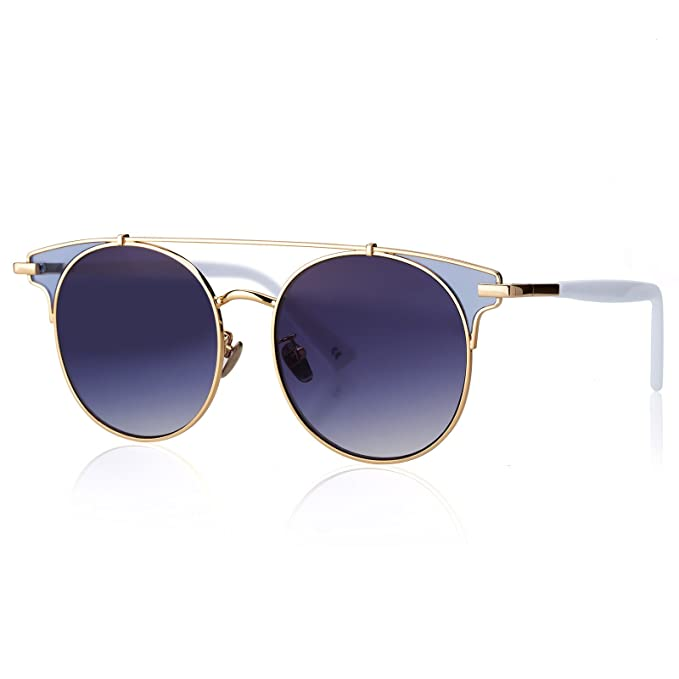 c5148835512 Womens Fashion Sunglasses Retro Cat Eye Glasses with Metal Double Bridge  Frame and Mirrored Lens
