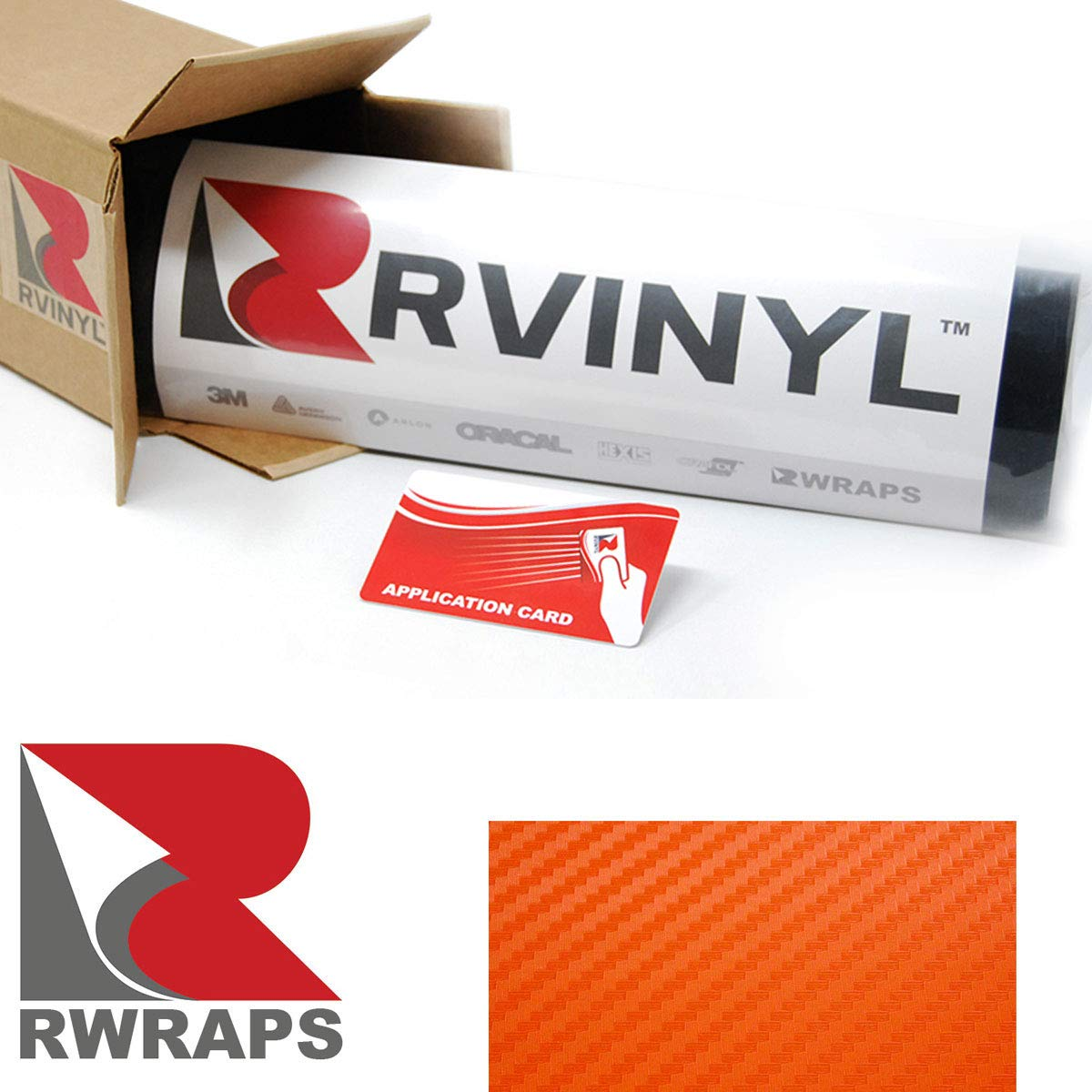 Sample Size Vinyl Vehicle Car Wrap Film Sheet Roll Rvinyl Rwraps 3D Orange Carbon Fiber 4in x 6in