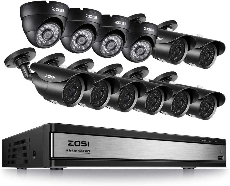 ZOSI 16CH 1080P Surveillance Cameras System 16 Channel Security Video DVR and 8 Bullet Cameras 4 Dome Cameras for Outdoor Indoor Security Support Motion Detection Remote Access No HDD