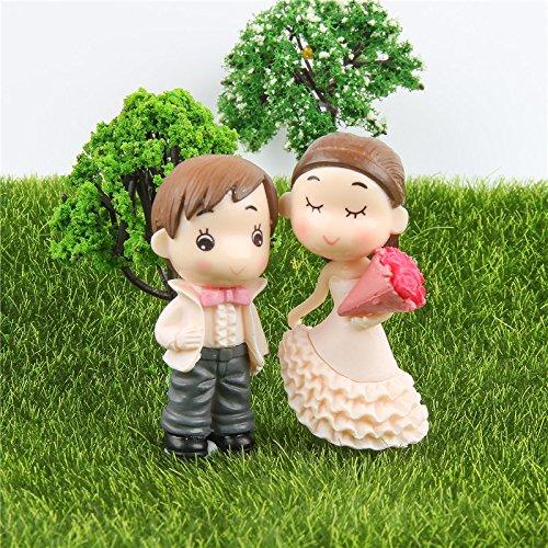 Miniature Garden Decor - 2 Pieces Sweety Lovers Couple Figurines Miniatures Fairy Garden Gnome Moss Terrariums Resin Crafts Wedding Decoration - Miniature Fairy Garden Décor