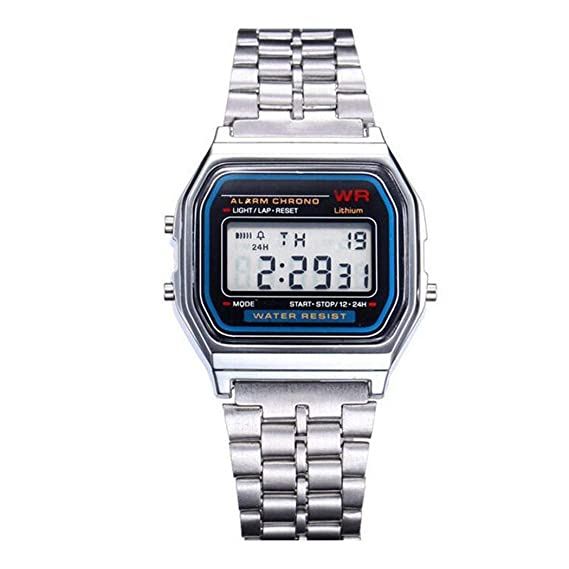 9d09ea7cd6f831 DiapedDeal Orologi da Polso Elettronico LED Digital Forma Quadrata Cintura  in Acciaio Inossidabile per Uomo Donna Unisex Affari Sportivi: Amazon.it:  Orologi