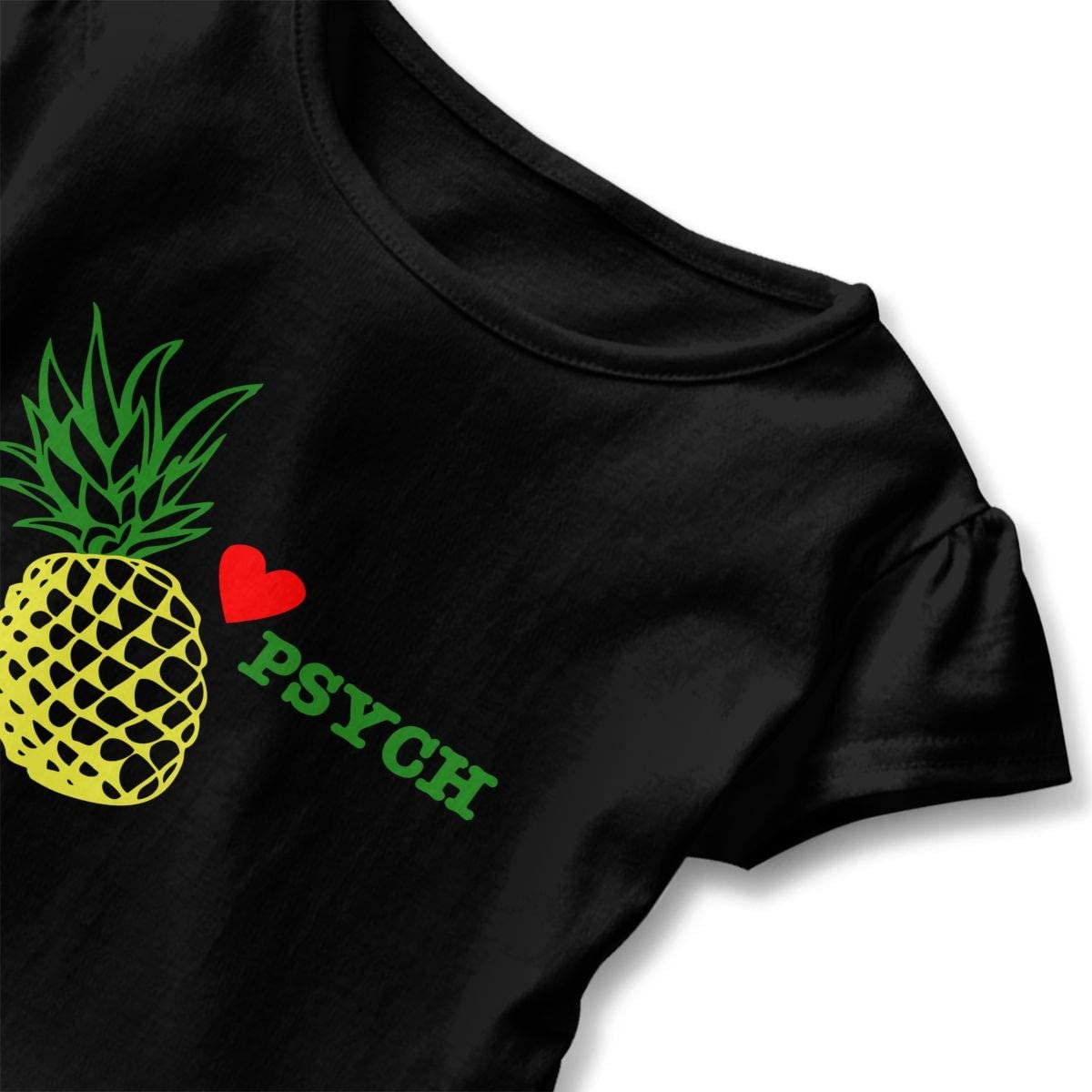 Kcloer24 Children Psych Pineapple Organic Short Sleeve Ruffles Tee T-Shirt for 2-6 Years Old