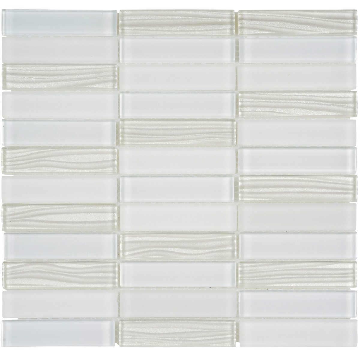 Modket TDH63MO Super White Crystal Glass Mosaic Tile, Wave Cold Spray, Matte Blend Stacked Pattern Backsplash