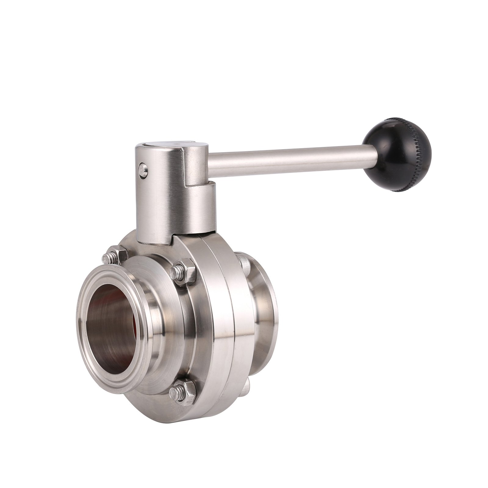 BOKYWOX 1.5'' Sanitary Stainless Steel 304 Tri Clamp Butterfly Valve with Silicon Seal Quick Connector