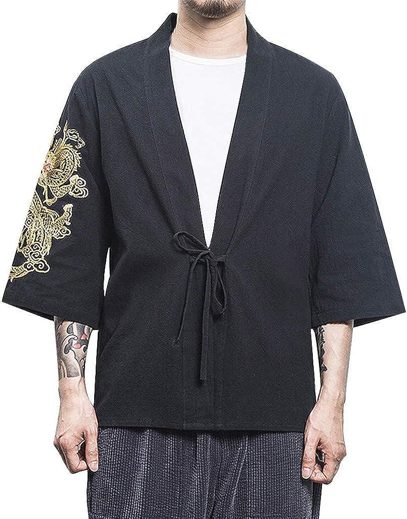 Geilisungren Ropa de Hombre Hombre Camisa Kimono Hippie Cloak Estilo Japonés Estampado Holgado Manga 3/4 Cardigan: Amazon.es: Ropa y accesorios