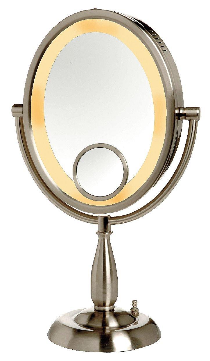 B003406M7I Lighted Makeup Mirror, 10 In., Nickel, 10X 617Rc7FMsnL._SL1242_