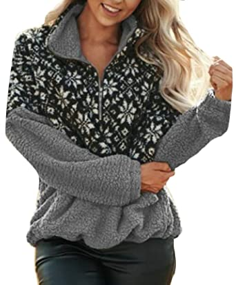 Pandapang Women Casual X-Mas Top Pullover Floral Stitch Warm