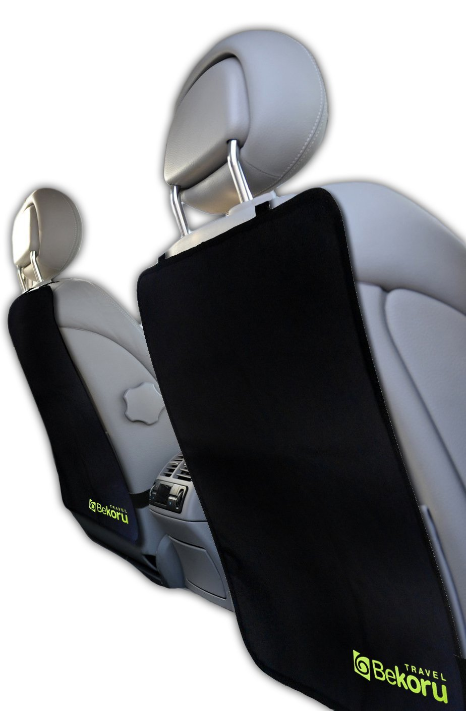 Kick Mats By Bekoru Travel-Premium Large Car Seat Back Protectors (2 Pack) –Fits Most Vehicles -Simple Installation –Top Quality-Protect Your Investment Now!