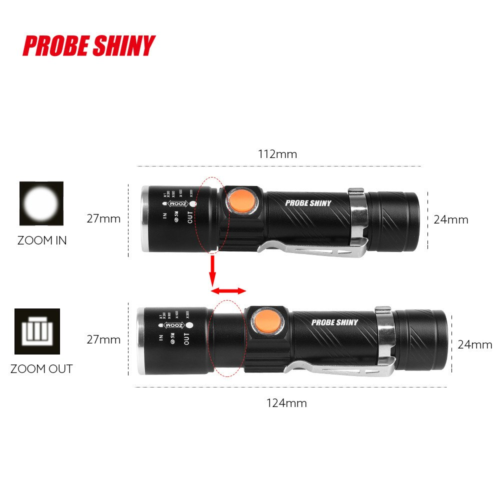 sonda brillante Negro bater/ía 18650 de litio Aleaci/ón de Aluminio Linterna Heligen LED USB Recargable 3000Lumen Alta Potencia T6 de port/átil resistente al agua Camping linterna 5 Modo de luz