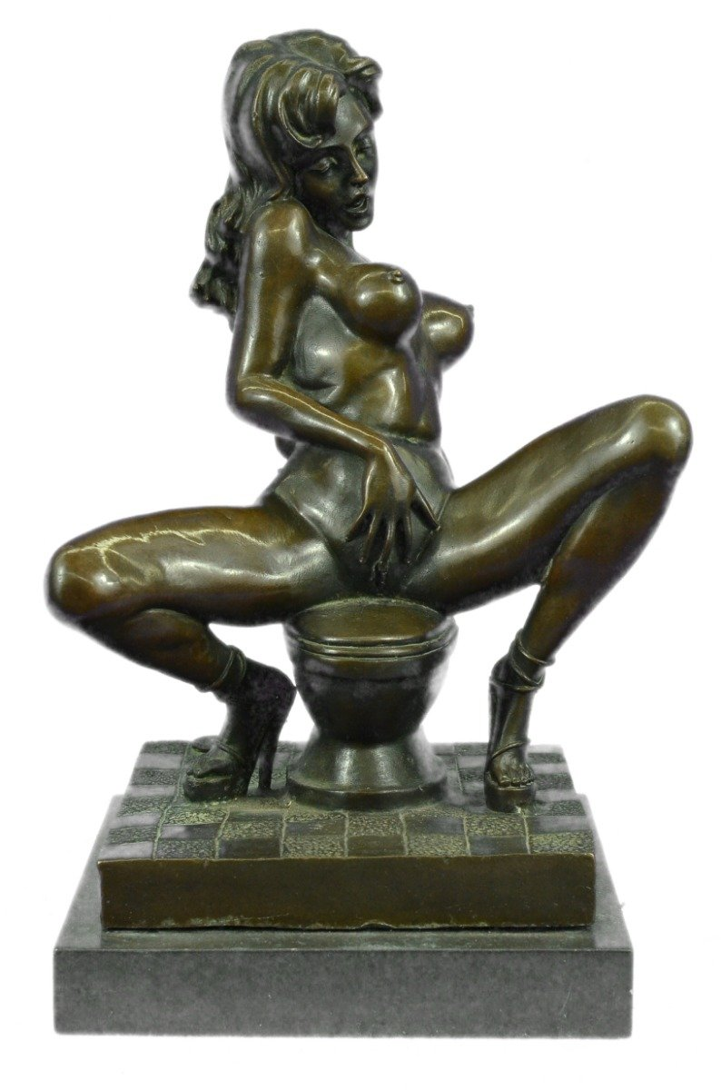 Handmade European Bronze Sculpture Signed Erotic Nude Art Sex Figurine Figure Marble Bronze Statue -YRD-614-Decor Collectible Gift