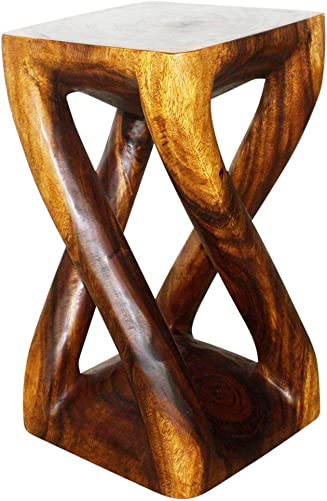 Haussmann Wood Vine Twist Stool Accent Table 12