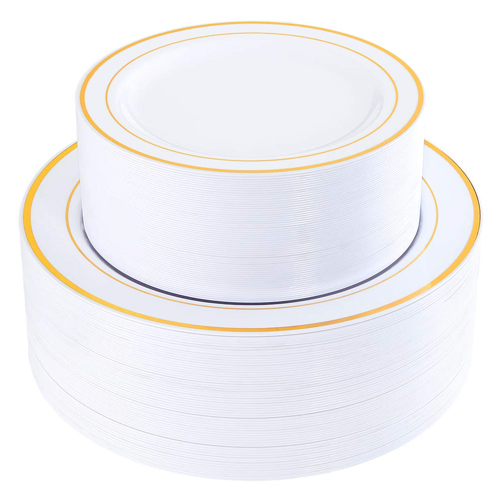 120 Pieces Gold Plastic Plates, Heavyweight White Disposable Plates with Gold Rim, includes: 60 Dinner Plates 10.25'', 60 Dessert Plates 7.5'' by WELLIFE