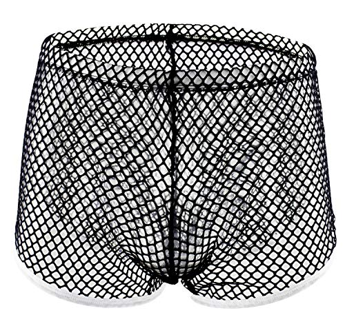 Forest Mens's Underwear Sexy Mesh Breathable Men Boxer Briefs Shorts See-Through Underwear Trunk 41Black - Sexy Extra Mesh Large