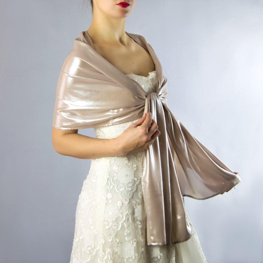 Chal chiffon color bronce gris beige dorado novia boda novia para vestido de fiesta: Amazon.es: Handmade