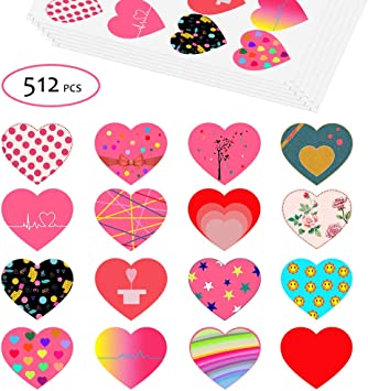 50 Valentine Red Love Hearts Waterproof Peel Off Shiny Stickers Self Adhesive
