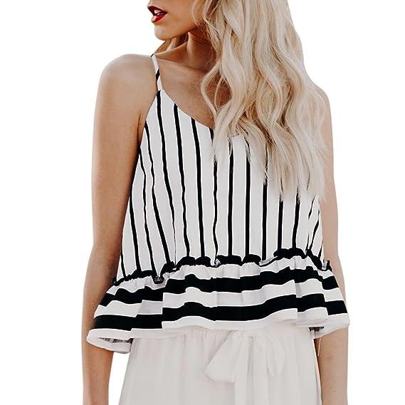 Camisas Mujer,Longra ☆ Moda Para Mujer con Volantes a Rayas con Cuello