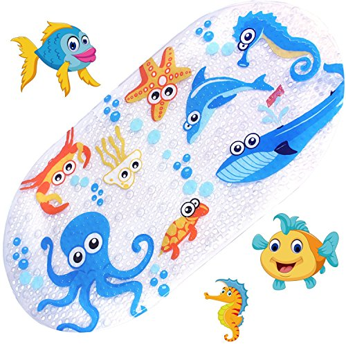 Non Slip Kids Bath Mats for Shower and Tub,with Many Suction Cups,Mildew Resistant,Natural PVC,Cute Design Bathtub Mat for Kids (Octopus) (Babies & Kids)