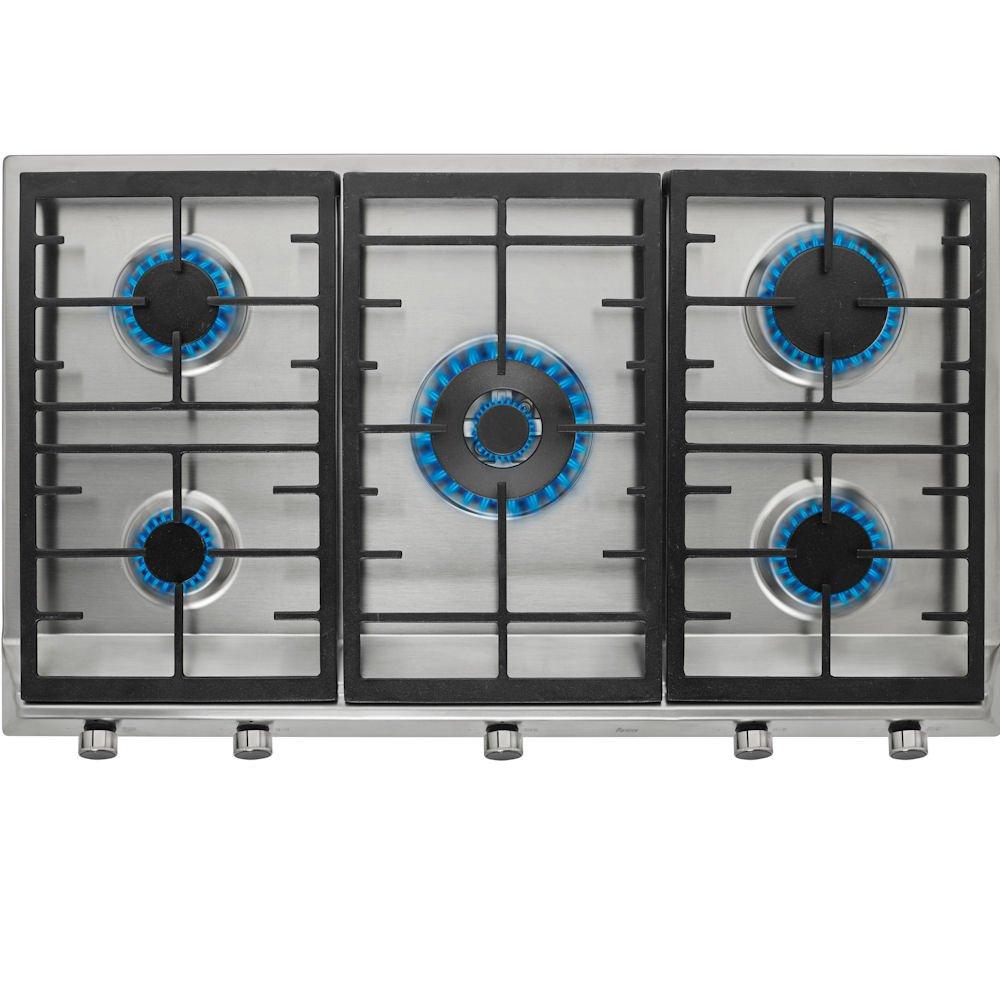 //5 50.0 cm//Gasherd mit elektrischer Z/ündvorrichtung//Edelstahl Gas//Einbau Teka EX 90 5G AI AL DR Kochfeld