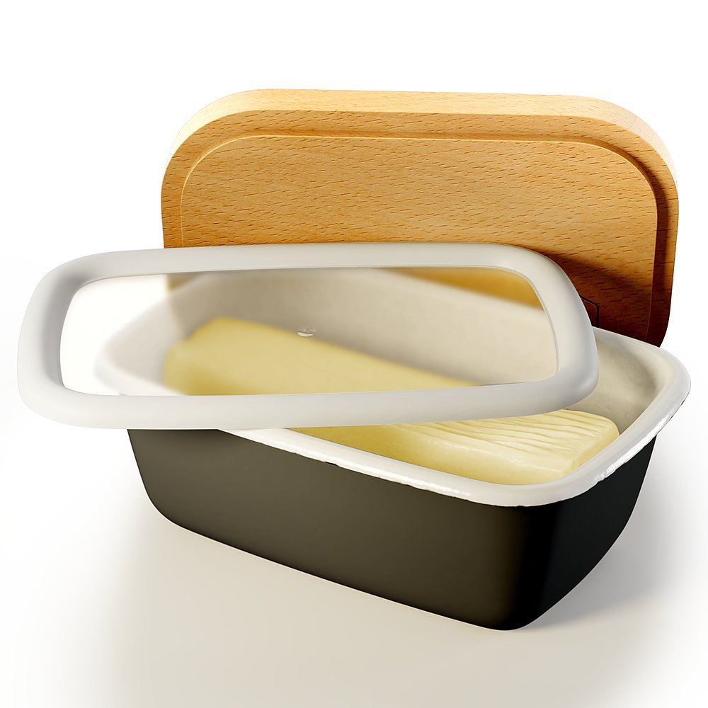 Butter Dish with Lid (Charcoal) | Covered Enamel Keeper with Beech Wood Top & Plastic Lid for Airtight Storage of Cheese | Tray Holds Half Pound of Stick Butter | Durable Food Storage Container Harper St Design Co