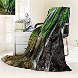 AmaPark Digital Printing Blanket Waterfalls side Valley in Indonesia with Asian Bushes above the Hills Green and Brown Summer Quilt Comforter