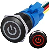 mxuteuk 19mm Latching Push Button Switch 1 NO 1 NC SPDT ON/Off Black Metal Shell with 12v Red Power Symbol Light with…