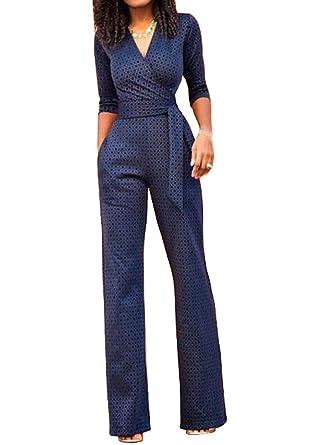 34 v Haute Pantalon Manche Femme Combinaison Romper Col Taille wqz714Pwr
