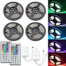 IWISHLIGHTTM 20M 65.6Ft SMD 5050 600LEDs Water-resistant Flexible RGB LED Strip Lighting + 2 x 44Key Remote