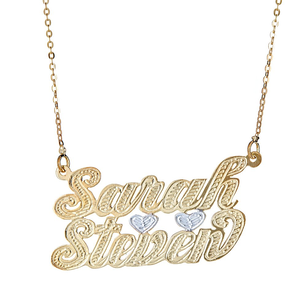Personalized .925 Sterling Silver Lovers Nameplate Plated in 14K Gold w Chain