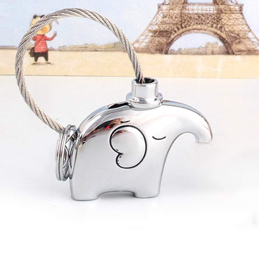 Couple Keychain, Kissing Elephants Key Accessories with Gift Box, Mother\'s Day Gift