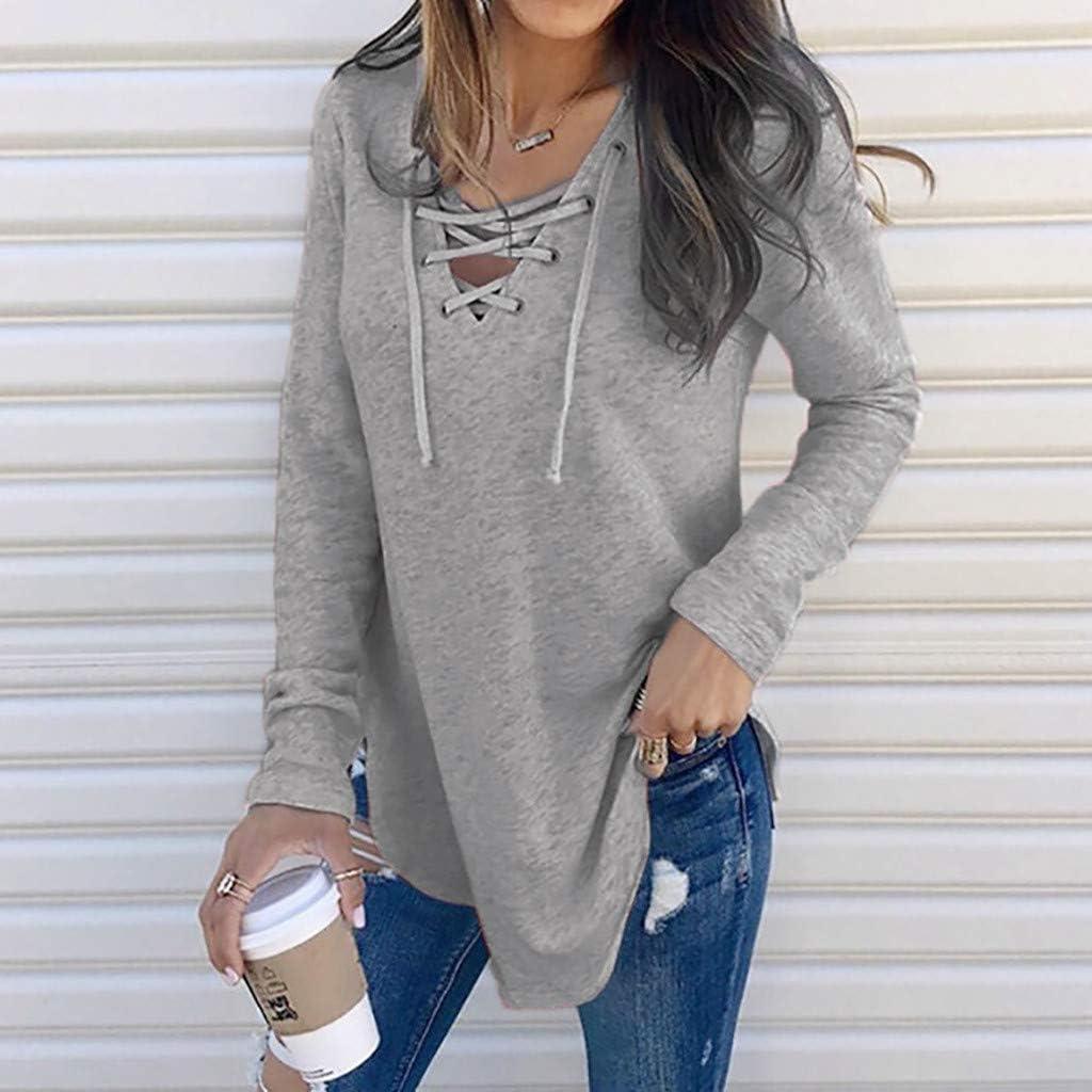 Drfoytg Women V Neck Strap Long Sleeve T-Shirt Pullover Top Autumn Winter Baseball Pure Color Blouse