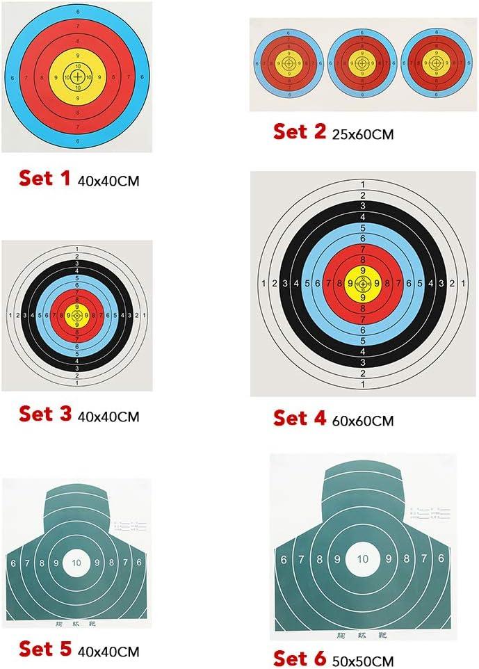 Fesjoy 20 ST/ÜCKE Bogenschie/ßen Zielpapier 60X60CM Ziel/übungspapierbogen mit 4 ST/ÜCKE Papier-Zielstiften