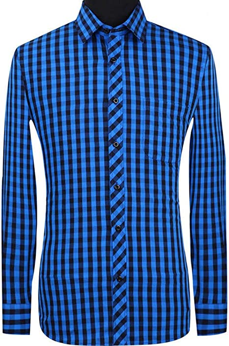 YAYLMKNA Camisa Camisa De Tela Escocesa Casual De Hombre Camisa De Algodón De Manga Larga para Hombre Camisa Cuadrada De Cuadrícula De Negocios Sociales, S: Amazon.es: Deportes y aire libre
